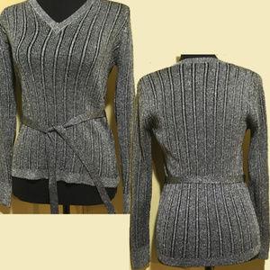 Grey Metallic Thread LeRoy Knitwear V-neck Sweater